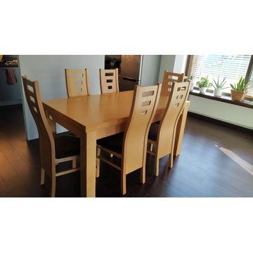 duży stół rozkładany z grubym blatem - 8 krzeseł