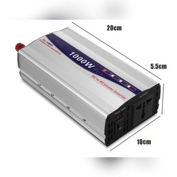 Przetwornica 12V do 230V 1000W czysty sinus