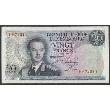 Luksemburg 20 franków 1966 - książę Jan