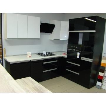 Meble kuchenne biały +czarny połysk 250x180 OKAZJA