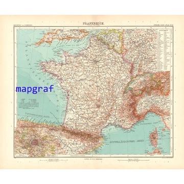 FRANCJA oryginalna stara mapa z 1906 roku 26