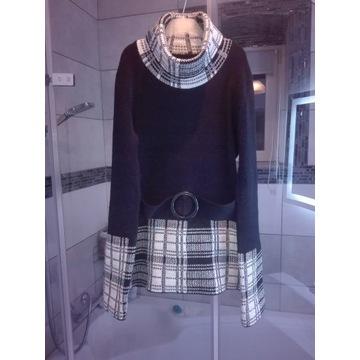 Ciepły sweterek ze srebrną nicią golf damski r. S
