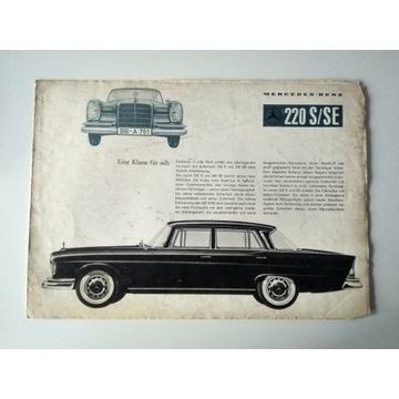 Prospekt Mercedes Benz 220S/SE 1964 UNIKAT