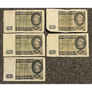 "Banknoty ""Góral"" 1940r. 5 sztuk"