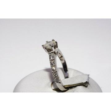 Złoty pierścionek diament 0,61ct I1/H+10 diam. VS1