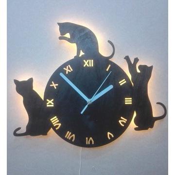 zegar ścienny 3 kotki z podświetleniem