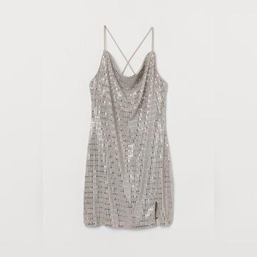 srebrna sukienka cekiny nowa