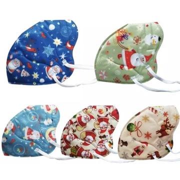 10X Maski Maseczki Świąteczne KN95 FFP2 Dla Dzieci