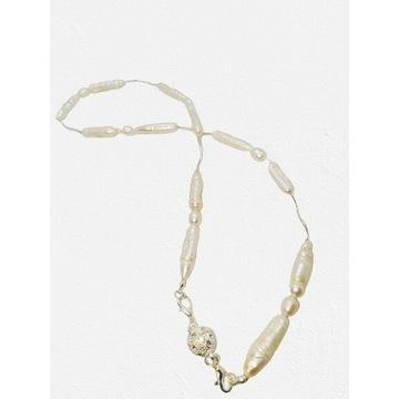 Luksusowy naszyjnik z prawdziwych pereł i srebra