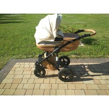 Wózek TAKO 3 w 1 skóra beżowa + drewno, przepiękny