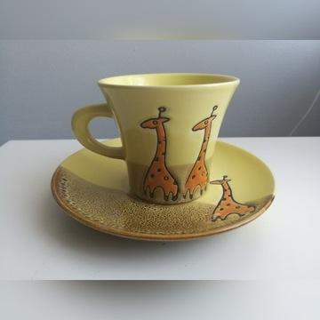 komplet kawowy 6 filiżanek + talerzyki Żyrafka NEW