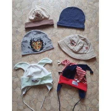 Różne czapki 6 szt czapeczki 9-24 miesięcy