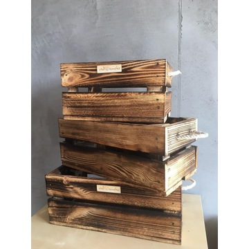 Skrzynki drewniane zestaw 3 szt.