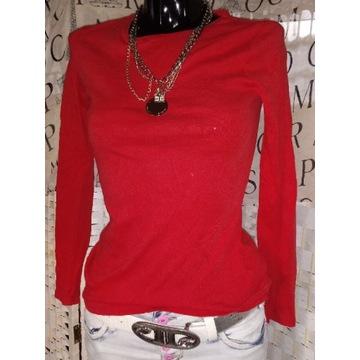 S 36 M 38 czerwona bluzka dopasowana basic letnia