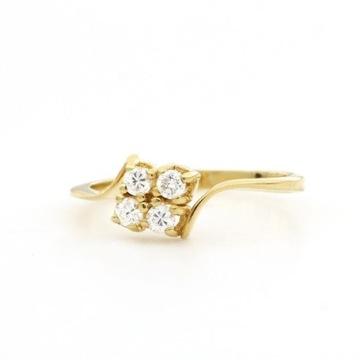 18-kar. żółte złoto - pierścionek-0.32 ct brylanty
