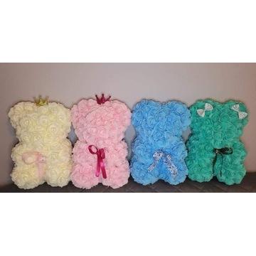 Miś z róż piankowych, rose bear 22 cm,różne kolory