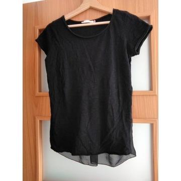 Czarny T-shirt z prześwitującym tyłem, A