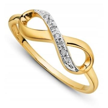 Złoty pierścionek nieskończoność 333
