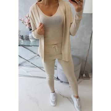 Komplet 3 części spodnie top i sweter
