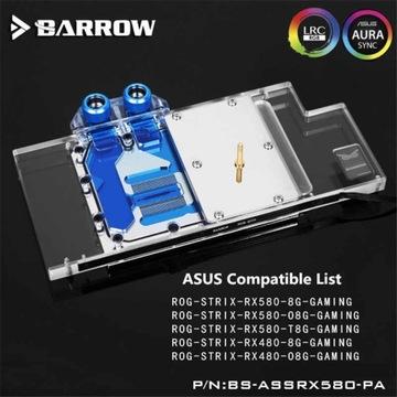 Nowy blok wodny BARROW do ASUS Radeon RX580 RX480