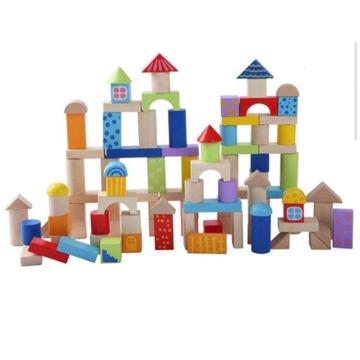 ECOTOYS Klocki drewniane dla dzieci zestaw 100 szt