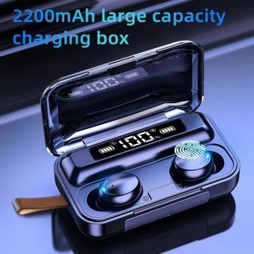 Słuchawki bluetooth dotyk bezprzewodowe powerbank