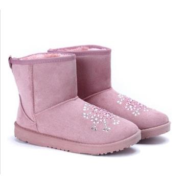 Buty śniegowce damskie różowe z cyrkoniami 41