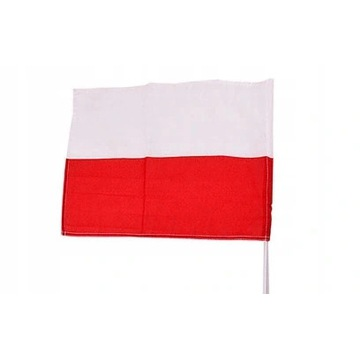 Mała FLAGA POLSKI + kijek 45 x 30 cm