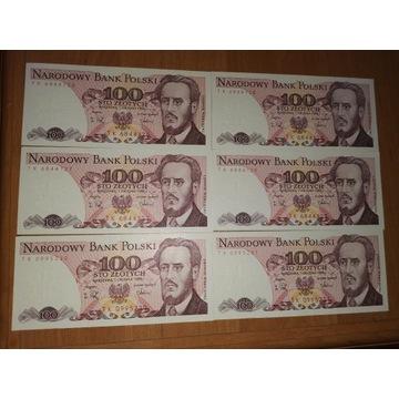 Stare banknoty 100zł - 6szt.