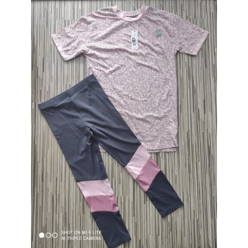 Zestaw koszulka spodnie leginsy ćwiczenia 134/140