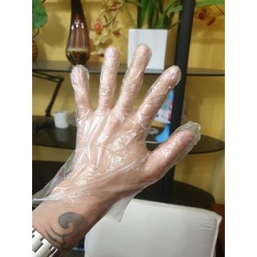 Rękawiczki plastikowe jednorazowe 100 szt
