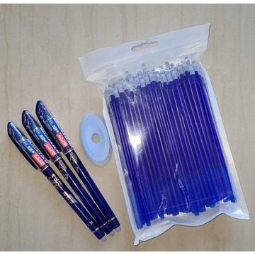 3 długopisów zmazywalnych 50 wkladami i gumka