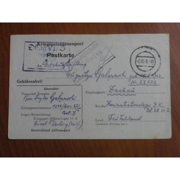 UNIKAT list Oflag VIB do Dachau 2 stemple cenzury!
