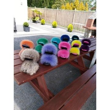 HIT Mega wygodne klapki z naturalnym futrem kolory