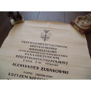 Krzyż Niepodległości,dyplom odznaczenia, Piłsudski