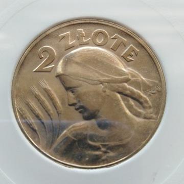 2 ZŁ ŻNIWIARKA 1925 KROPKA MENNICZA