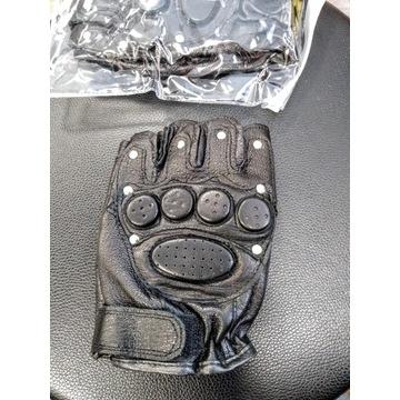 Rękawiczki skórzane motocyklowe bezpalcowe