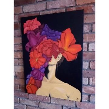 Obraz nowoczesny, romantyczny. Malowany-olej. Duży