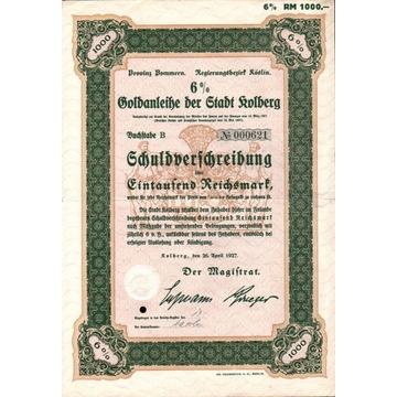 Obligacja - Kołobrzeg na 1000 Reichsmark