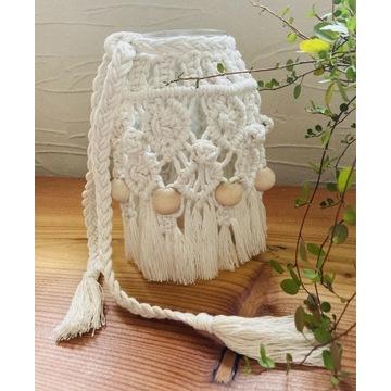 Lampion wazon boho makrama koraliki drewniane  XXL