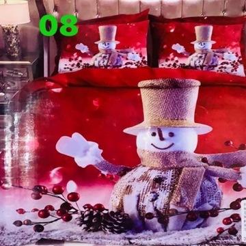 Pościel Świąteczna 3części Mikołaj Bałwan 160x200