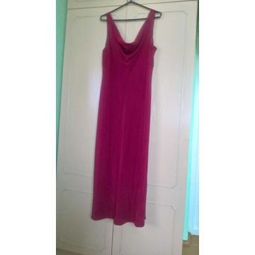 Elegancka bordowa sukienka weselna bez rękawów XL
