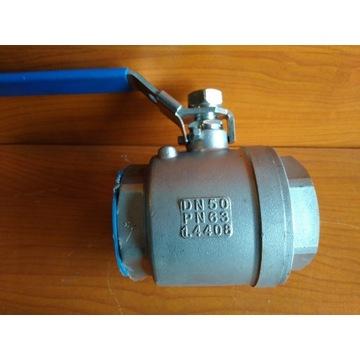 Zawór kulowy DN50 2''; 2-częściowy Nierdzewny NOWY