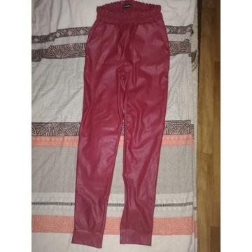 Skorzane czerwone   spodnie