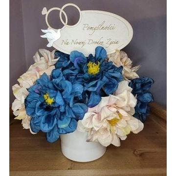 Flower box z sztucznych kwiatów, urodziny, wesele