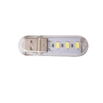 mała i silna płaska lampka USB 3 LED diody ciepła