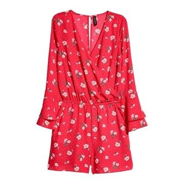 H&M krótki czerwony kombinezon w kwiaty roz. 40