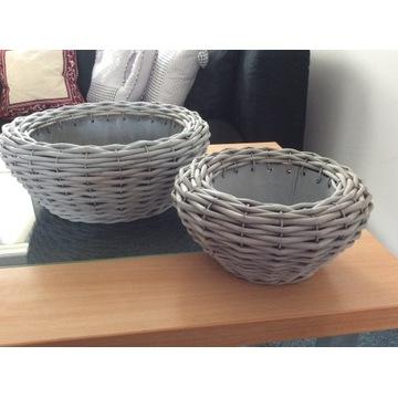 Koszyki z wikliny z metalowa wkładką