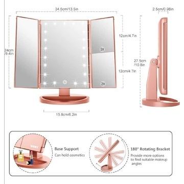 Lustro kosmetyczne LED WEILY różowe