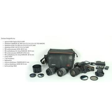 SONY A390 + 3 obiektywy + zestaw filtrów + torba